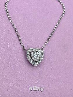 14k WG. 75tcw Heart Cut Natural Real Diamond Halo Pendant Necklace 16.5