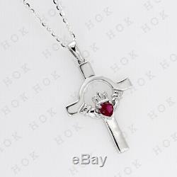 14k White Gold Fn 0.25 Ct Heart Sapphire Claddagh Cross pendant Necklace