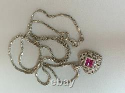 14k White Gold Genuine Ruby Diamond Heart Pendant Necklace With Chain Made Italy