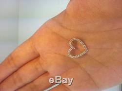 14k Yellow Gold 0.25 Ct Diamond Open Heart Pendant for Necklace 5/8 0.9 gr