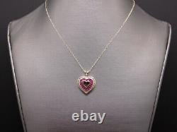 14k Yellow Gold. 80ct Baguette Ruby Diamond Heart Love Pendant Necklace 20 inch