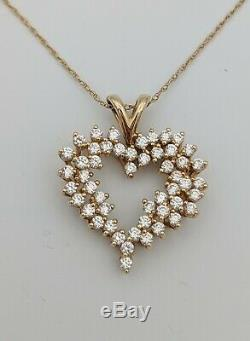 14k Yellow Gold Diamond Heart Pendant Necklace