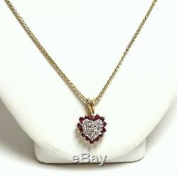 14k Yellow Gold Diamond and Ruby Heart Shape Pendant with Chain 18 5.6g Total W