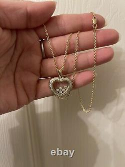 14k Yellow Gold Floating Diamonds Necklace. 8 Grams