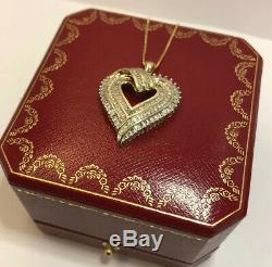 14k Yellow Gold Necklace & GOS Sterling Silver 1 Ct Diamond Pave HEART Pendant