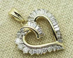 14k Yellow Gold finish 1.50 Ct Baguette and Round Cut Diamond Love Heart Pendant