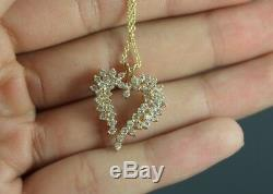 $1650 ALA 14k Yellow Gold 1.00ct Round Diamond Heart Pendant 16'' Chain Necklace
