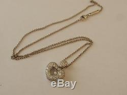 18CT. WHITE GOLD CHOPARD HAPPY DIAMOND HEART PENDANT & CHAIN, signed & numbered