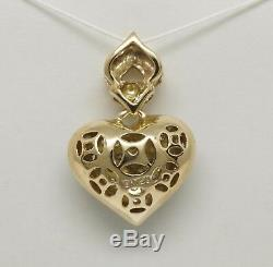 18K Yellow Gold +/- 1/4 CT TW Diamond Cluster Puffed Fancy Heart Pendant