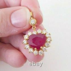 18ct gold carved heart ruby 1.55ct diamond pendant