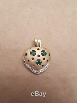 18k Yellow Gold Emerald Diamond Heart Necklace Pendant with 19 Chain