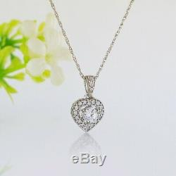 1Ct Diamond Solitaire Heart Shape Pendant Necklace 18 WithChain 14K White Gold Gp