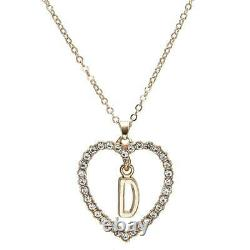 1.00CT Round Cut Diamond D Letter Pendant 14k Yellow Gold Over