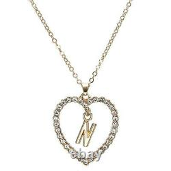 1.00CT Round Cut Diamond N Letter Pendant 14k Yellow Gold Over