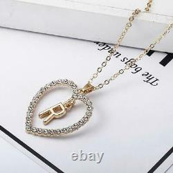 1.00CT Round Cut Diamond R Letter Pendant 14k Yellow Gold Over