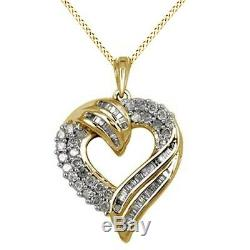 1.00Ct Round And Baguette Diamond 14K Gold Over Sterling Silver Heart Pendant