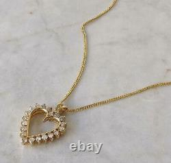 1.00 Ct Diamond Heart Pendant Necklace in 14K Yellow Gold Finish with Chain 18