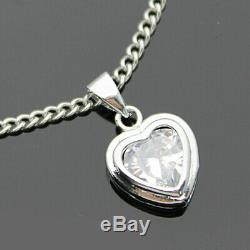 1.00 Ct Heart Cut Diamond Solitaire Pendant Charm For Ladies 14k White Gold Over