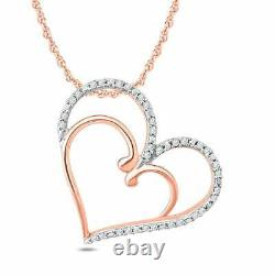 1.00 Ct Round Cut Diamond Heart Pendant Necklaces 14K Rose / White Gold Over