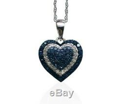 1.24 Ct Round Cut Natural White Blue Diamond Pendant Necklace Sterling Silver