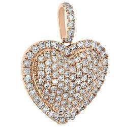 1.25 CT. Round-Cut Diamond Out Heart Pendant Love Charm 1 14K Rose Gold Over