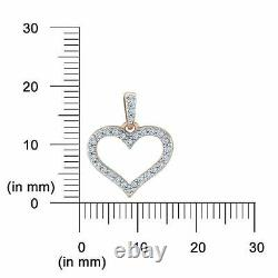 1.25 Ct Round Cut Diamond Open Heart Shape Pendant with Chain 10K Rose Gold Over
