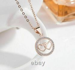 1.2ct Diamond Circle Heart Engagement Pendant Without Chain 14k Rose Gold Filled