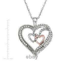 1.40 Ct Round Cut Diamond Three Heart Pendant 925 Sterling Silver 1.80 Inches