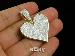 1.50Ct Round Cut VVS1/D Diamond Iced Out Heart Pendant 14k Yellow Gold Finish