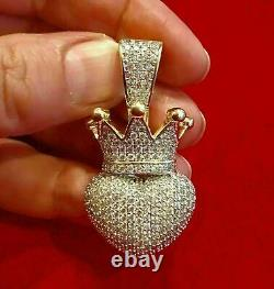 1.50 Ct Round Cut Diamond Crown Puffy Heart Pendant Charm 14k Yellow Gold Over