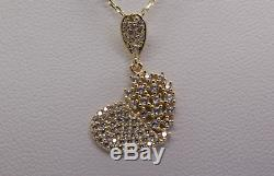 1.5 Ct Sparkling Heart Shape Pendant Necklace With 18 Chain Solid 14k Y Gold