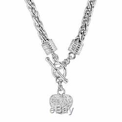 1/8 ct Diamond Heart Charm Necklace in Sterling Silver, 18