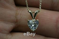 1 CARAT SOLITAIRE PENDANT NECKLACE WITH CHAIN HEART SHAPE SOLID 14K YELLOW GOLD