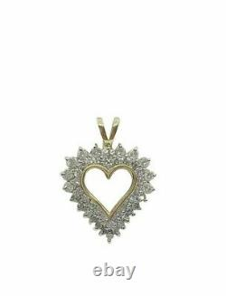 1 CT Round Cut Diamond Heart Love Pendant Necklace 14k Yellow Gold Over 18