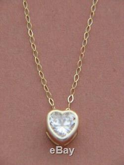 1 Carat Heart Cut Solitaire Pendant Necklace And Chain in Solid 14K Real Gold