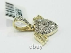 1 Ct Round Diamond Puffy Cluster Heart Wings Charm Pendant 14k Yellow Gold Fin