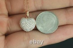 $2800 D 14K Rose Gold Round Micro Pave Diamond Heart Pendant 18 Chain Necklace