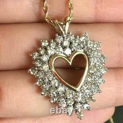 2CT Round Cut Diamond Open Cluster Heart Pendant Necklace 14K Yellow Gold Finish
