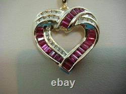 2Ct Baguette Cut Ruby And Round Diamonds Heart Pendant 14K Yellow Gold Finish