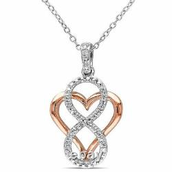 2Ct Round Cut Diamond Heart with Infinity Pendant Necklaces 14K White Gold Over