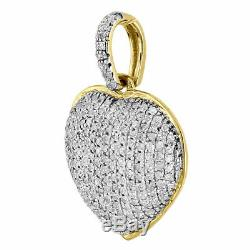 2.00Ct Round Cut Diamond Heart Pendant 14K Yellow Gold Over Charm Necklace 1in