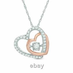2.00Ct Round Cut Diamond Heart Pendant Necklaces 14K Rose Gold Over