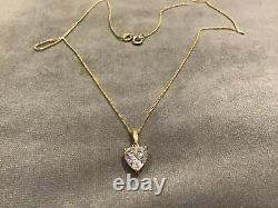 2.0 Carat Diamond Heart Cut Solitaire Pendant With Necklace 9k Gold Finish