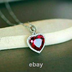 2.50Ct Heart Cut Red Ruby & Diamond Halo Pendant 14K White Gold Over With Chain