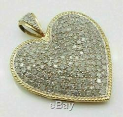 2 CT Round Diamond Cluster Heart Love Pendant 18 Necklace 14k Yellow Gold Over