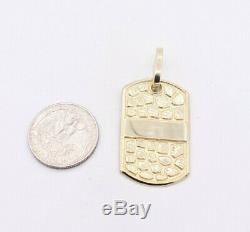 2 Nugget Style Dog Tag Diamond Cut Charm Pendant Real SOLID 10K Yellow Gold