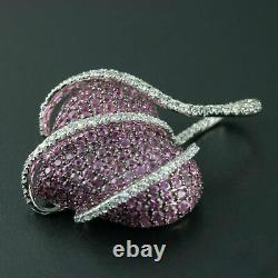 2cts Pink Sapphire & Diamond Heart Pendant With 18'' Chain 14K White Gold Finish