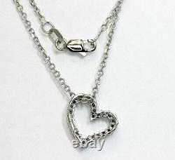 30CT diamond heart pendant necklace 25 rounds 14K white gold 18 cable chain 4G