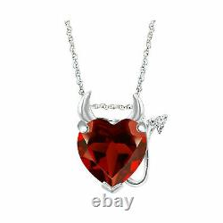 3Ct Heart Cut Red Ruby Devil Heart Pendant with Diamond in 14K White Gold Over