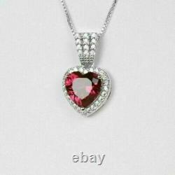 3Ct Heart Shape Red Ruby Gift For Women's Pendant 14K White Gold Over Free Chain